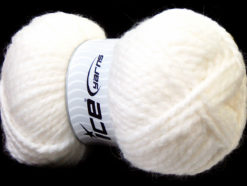 Lot of 2 x 150gr Skeins Ice Yarns SuperBulky ALPINE ALPACA (30% Alpaca 10% Wool) Yarn White