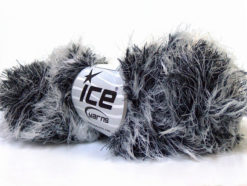 Lot of 3 x 100gr Skeins Ice Yarns SMOOTH FUR Hand Knitting Yarn Black White