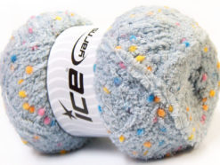 Lot of 4 x 100gr Skeins Ice Yarns PUFFY POMPOM (85% MicroFiber) Yarn Grey