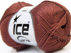 Lot of 6 Skeins Ice Yarns CAMILLA COTTON (100% Mercerized Cotton) Yarn Brown
