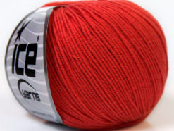 Lot of 8 Skeins Ice Yarns BABY SUMMER (60% Cotton) Yarn Tomato Red