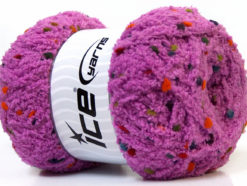 Lot of 4 x 100gr Skeins Ice Yarns PUFFY POMPOM (85% MicroFiber) Yarn Lavender
