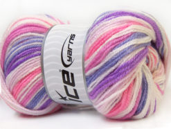 Lot of 4 x 100gr Skeins Ice Yarns GUMBALL Yarn Purple Lilac Pink White