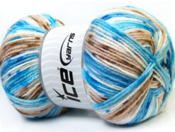 Lot of 4 x 100gr Skeins Ice Yarns CANDY BABY Yarn Blue Brown White