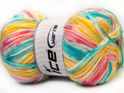 Lot of 4 x 100gr Skeins Ice Yarns CANDY BABY Yarn Pink Turquoise Yellow White