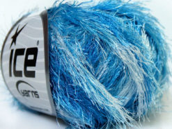 Lot of 8 Skeins Ice Yarns EYELASH COLORFUL Hand Knitting Yarn Blue Shades
