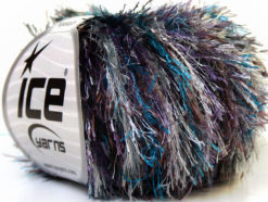 Lot of 8 Skeins Ice Yarns EYELASH COLORFUL Yarn Blue Brown Lilac Silver