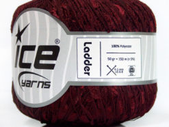 Lot of 6 Skeins Ice Yarns Trellis LADDER Hand Knitting Yarn Dark Burgundy