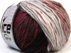 Lot of 8 Skeins Ice Yarns VIVID WOOL (60% Wool) Yarn Burgundy Brown Black Grey