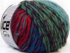 Lot of 8 Skeins Ice Yarns VIVID WOOL (60% Wool) Yarn Turquoise Fuchsia Red Green Shades Blue Shades