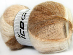 Lot of 4 x 100gr Skeins Ice Yarns BERMUDA MOHAIR (70% Mohair) Yarn Camel Cream White