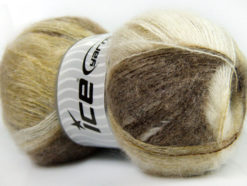 Lot of 4 x 100gr Skeins Ice Yarns BERMUDA MOHAIR (70% Mohair) Yarn Camel Green White
