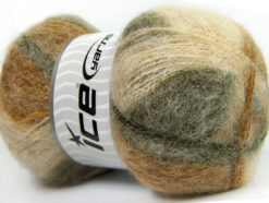 Lot of 4 x 100gr Skeins Ice Yarns BERMUDA MOHAIR (70% Mohair) Yarn Green Shades Cream