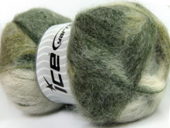 Lot of 4 x 100gr Skeins Ice Yarns BERMUDA MOHAIR (70% Mohair) Yarn Green Shades White