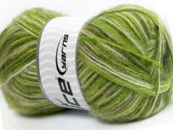 Lot of 4 x 100gr Skeins Ice Yarns ANGORA SUPREME COLOR (70% Angora) Yarn Green Shades White