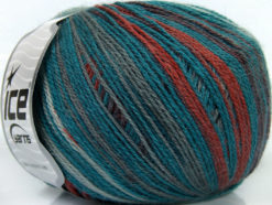 Lot of 4 x 100gr Skeins Ice Yarns ALPACA FINE MAGIC (25% Alpaca 35% Wool) Yarn Teal Grey Copper