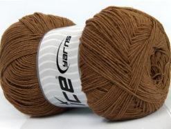 Lot of 4 x 100gr Skeins Ice Yarns LORENA SUPERFINE (55% Cotton) Yarn Brown