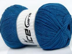 Lot of 4 x 100gr Skeins Ice Yarns LORENA SUPERFINE (55% Cotton) Yarn Blue