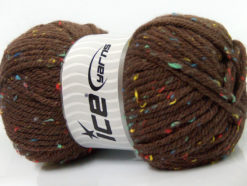 Lot of 4 x 100gr Skeins Ice Yarns WOOL TWEED SUPERBULKY (25% Wool 3% Viscose) Yarn Brown