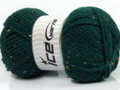 Lot of 4 x 100gr Skeins Ice Yarns WOOL TWEED SUPERBULKY (25% Wool 3% Viscose) Yarn Dark Green