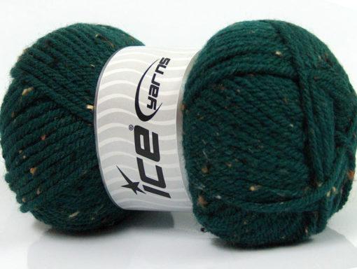 Lot of 4 x 100gr Skeins Ice Yarns WOOL TWEED SUPERBULKY (25% Wool 3% Viscose) Yarn Dark Green