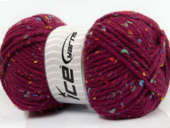 Lot of 4 x 100gr Skeins Ice Yarns WOOL TWEED SUPERBULKY (25% Wool 3% Viscose) Yarn Burgundy
