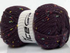 Lot of 4 x 100gr Skeins Ice Yarns WOOL TWEED SUPERBULKY (25% Wool 3% Viscose) Yarn Purple
