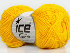 Lot of 8 Skeins Ice Yarns COTTON BAMBOO (50% Bamboo 50% Cotton) Yarn Yellow