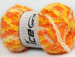 Lot of 4 x 100gr Skeins Ice Yarns PUFFY (100% MicroFiber) Yarn Orange Yellow Cream