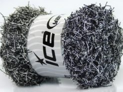 Lot of 4 x 100gr Skeins Ice Yarns SCRUBBER TWIST Yarn Black White