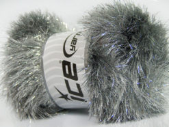 Lot of 4 x 100gr Skeins Ice Yarns EYELASH DAZZLE Yarn Grey Silver