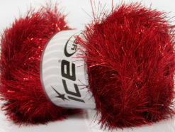 Lot of 4 x 100gr Skeins Ice Yarns EYELASH DAZZLE Hand Knitting Yarn Dark Red