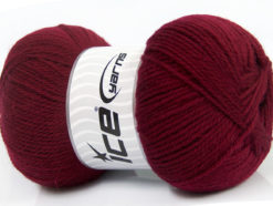 Lot of 4 x 100gr Skeins Ice Yarns VIRGIN WOOL DELUXE (100% Virgin Wool) Yarn Burgundy
