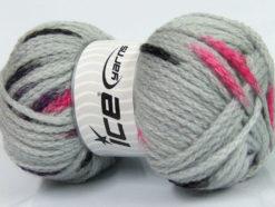 Lot of 4 x 100gr Skeins Ice Yarns TUBEWOOL BULKY SPOTS (11% Wool) Yarn Grey Maroon Pink