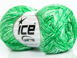 Lot of 8 Skeins Ice Yarns JEANS (100% Cotton) Hand Knitting Yarn Green White