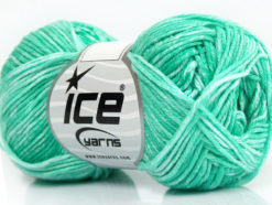 Lot of 8 Skeins Ice Yarns JEANS (100% Cotton) Yarn Mint Green White
