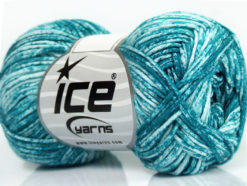 Lot of 8 Skeins Ice Yarns JEANS (100% Cotton) Hand Knitting Yarn Teal White