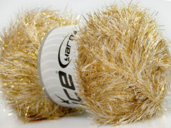 Lot of 4 x 100gr Skeins Ice Yarns EYELASH DAZZLE Hand Knitting Yarn Cream Gold