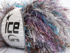 Lot of 8 Skeins Ice Yarns LONG EYELASH COLORFUL Yarn Blue Brown Lilac Silver