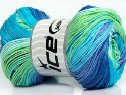 Lot of 4 x 100gr Skeins Ice Yarns CAMILLA COTTON MAGIC (100% Mercerized Cotton) Yarn Blue Shades Turquoise Green Lilac