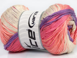 Lot of 4 x 100gr Skeins Ice Yarns CAMILLA COTTON MAGIC (100% Mercerized Cotton) Yarn Pink Salmon Lilac Green
