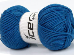 Lot of 4 x 100gr Skeins Ice Yarns LORENA WORSTED (55% Cotton) Yarn Blue