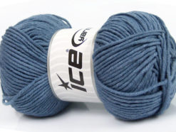 Lot of 4 x 100gr Skeins Ice Yarns LORENA WORSTED (55% Cotton) Yarn Jeans Blue