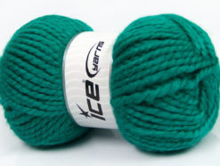 Lot of 2 x 150gr Skeins Ice Yarns SuperBulky ALPINE ALPACA (30% Alpaca 10% Wool) Yarn Emerald Green