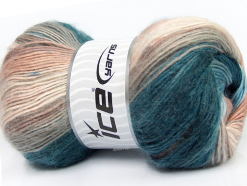 Lot of 4 x 100gr Skeins Ice Yarns MADONNA (40% Wool 30% Mohair) Yarn Turquoise Brown Shades Camel