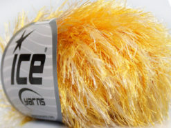 Lot of 8 Skeins Ice Yarns EYELASH COLORFUL Hand Knitting Yarn Yellow White