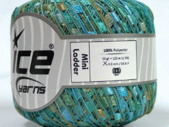 Lot of 6 Skeins Ice Yarns Trellis MINI LADDER Yarn Turquoise Mint Green Cafe Latte