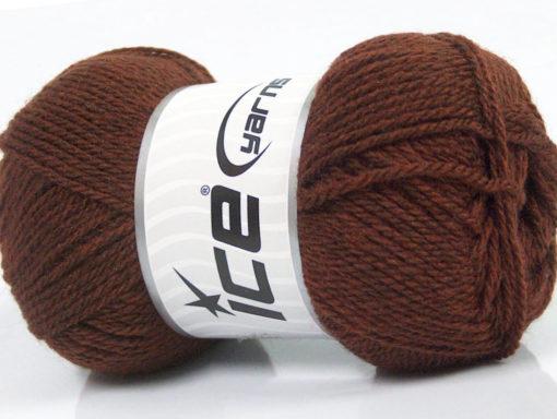 Lot of 8 Skeins Ice Yarns BABY WOOL (40% Wool) Hand Knitting Yarn Brown