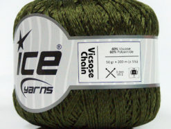 Lot of 6 Skeins Ice Yarns VISCOSE CHAIN (40% Viscose) Yarn Dark Green