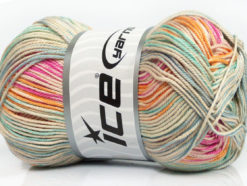 Lot of 4 x 100gr Skeins Ice Yarns TROPICAL MERCERIZED (100% Mercerized Cotton) Yarn Pink Orange Mint Green Blue Beige
